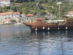 Replica of an old boat for sightseeing surrounding Dubrovnik