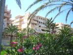 View of the apartment from near the Almerimar golf course which is just across the road