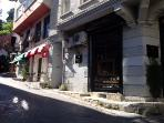 Corner of our bu?lding.  Cool  Holly coffee shop and traditional Turkish 'Köfte' restaurant