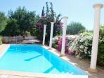 The colorful pool area