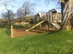 Climbing towers and playground at the cottages.