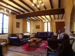 The lounge has comfortable furnishings with charming features