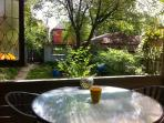 view of garden from porch table