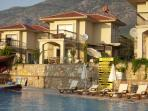 Pool side view of villa