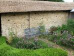 The old cob wall surrounding the kitchen garden