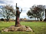 St. Aidan statue, near the Priory