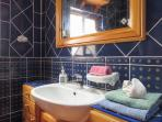 Mediterranean blue bathroom ensuite detail
