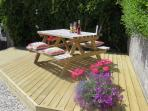 Decking area and picnic table