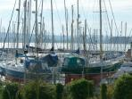 Poole Yacht Marina overlooking Poole Harbour and Purbecks