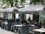 You can have breakfast, lunch or dinner on Vitosha street