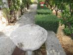 stone table in garden