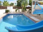Private Pool with large Slide (shallow and deep)