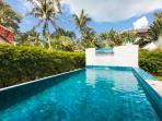 Your private pool with water feature and lounging step - jump in and cool off
