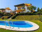 Sanlucar holiday Villa - View to villa from  gardens and swimming pool