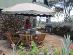 Secluded patio for dining and barbeque at back of house