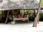 New makuti structure at end of inner beach for veging out on Lamu bed