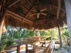 Dine under the chickee hut on your own island...the ceiling fan enhances the natural breezes.