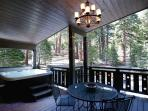 Rear Deck with hot tub & outdoor dining