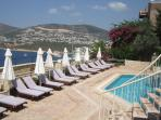 The pool terrace enjoys sun from morning until sunset. Just 2 flights of stairs from Kalkan Breeze.