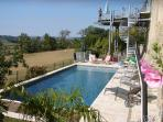 South side 11x 4 meter heated pool, sunny from morning to evening, facing the valley, total privacy.