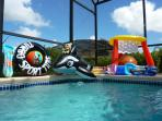 Shamu, Ali the gator or other inflatables are available (and an electric inflator!)