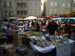The lively market of Villefranche, every Thursday morning. Saturday market in Najac.