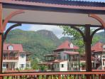 Mountains of Mahe behind apartment