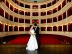 The stage in Teatro Signorelli, which hosts festivals, plays, concerts, live screenings .....