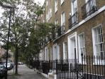 John Street in Bloomsbury, London, WC1. Smart area which bustles in the day and falls quiet at night
