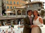 At the top of the Comune steps: what a backdrop the piazza makes for a wedding!
