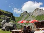 Mountain restaurant in the summer