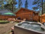 Unwinding in a private, 4-person hot tub