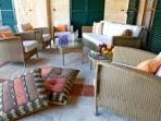 This terrace lounge area provides the perfect shade at midday sun or for evening drinks
