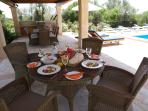 Wonderful alfresco dining at the pool terrace
