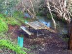 Your own private picnic table overlooking the brook