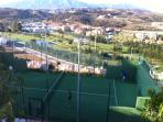 Paddle tennis with view over La Noria golf course