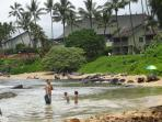 Beach in front of Kapaa Sands at low tide