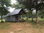 This is an outside shot of cabin.