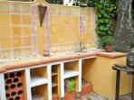 barbeque area with outdoor sinks etc