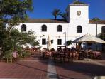 Hacienda courtyard and pizza retaurant