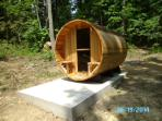 Brand new six person Canadian red cedar sauna for relaxing in after hiking or sightseeing.