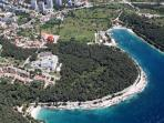 Panoramic view on Lungomare beach and apartment (red circle :)