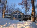 Fully winterized lakeside cottage with new hot tub, oil central heating and fireplace!