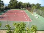 View of the private tennis court