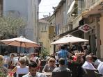 Cafe near apartment a sunny market day
