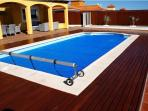 Outside heated swimming pool, decorated with teak wood, 10×4 m,1.2 -1.8 m depth,New Jan 2015