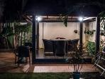 Sala at Night - dimmerable spot lights - ceiling fan - close to both kitchen and BBQ area