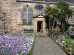 Poulton St Chads Church filled with a carpet of Crocuses in March time.