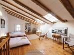 Double beds in the top floor bedroom