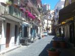 Quaint street leading to the Town Square